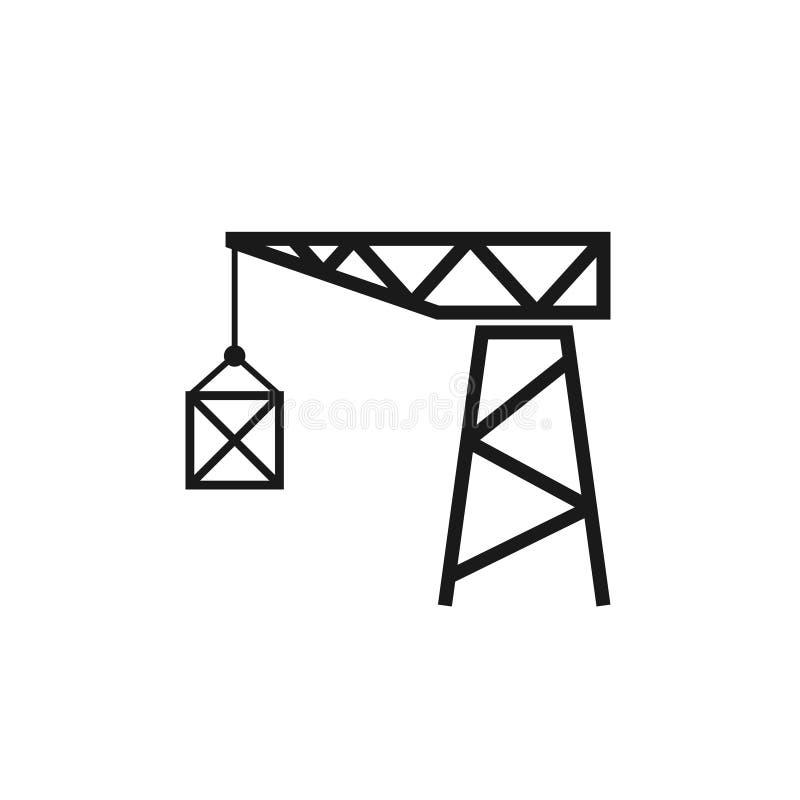 Icona della siluetta della gru del vecchio porto illustrazione di stock