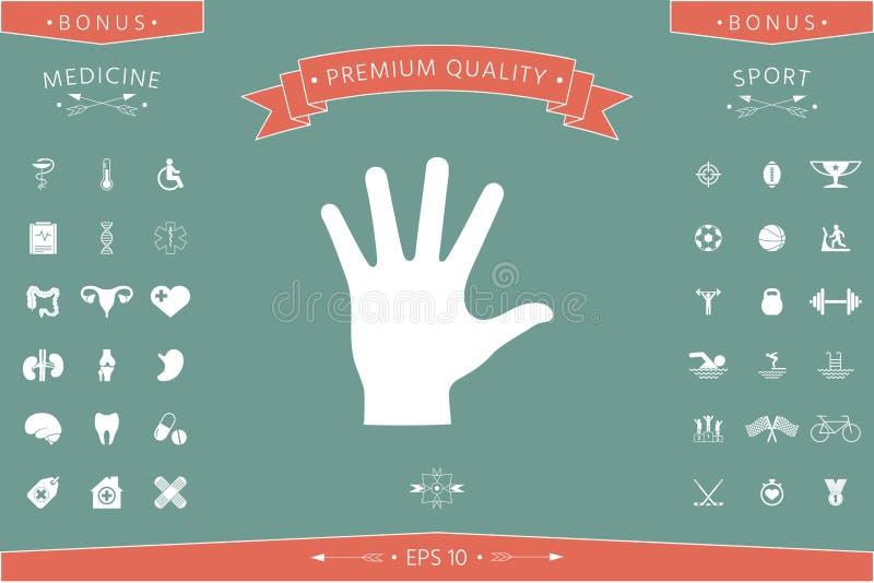 Icona della siluetta della mano amica illustrazione di stock