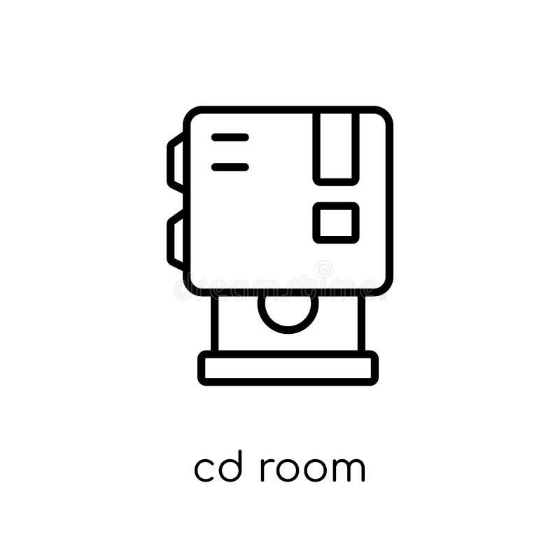 Icona della stanza del CD Icona lineare piana moderna d'avanguardia della stanza del CD di vettore su w illustrazione di stock
