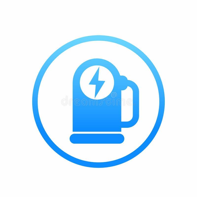 Icona della stazione di carico dell'automobile, elemento di logo di vettore illustrazione vettoriale