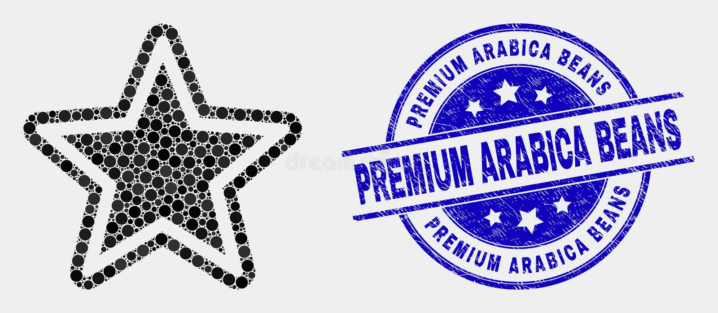 Icona della stella del pixel di vettore e filigrana premio dei fagioli dell'arabica di lerciume illustrazione vettoriale