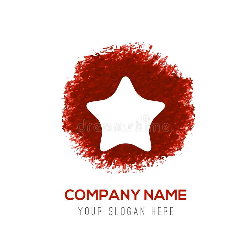 Icona della stella - spruzzata rossa del cerchio dell'acquerello illustrazione di stock