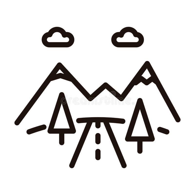 Icona della strada della montagna Vector illustrazione al tratto sottile con le montagne, gli alberi e la strada Strada dell'auto illustrazione di stock