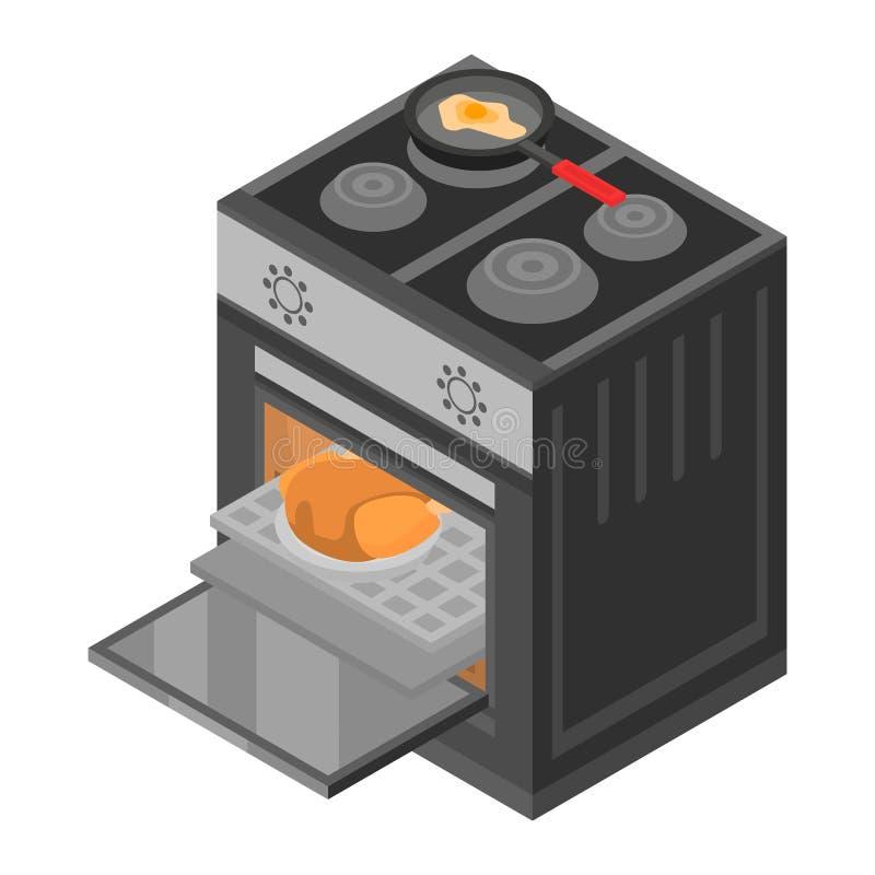Icona della stufa del fornello, stile isometrico illustrazione vettoriale