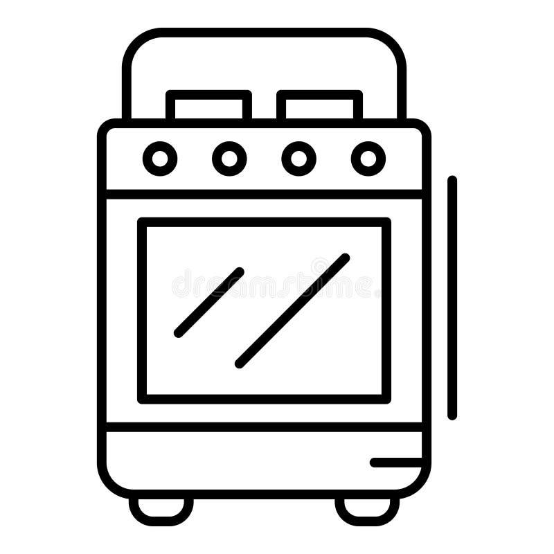 Icona della stufa del fornello, stile del profilo illustrazione di stock