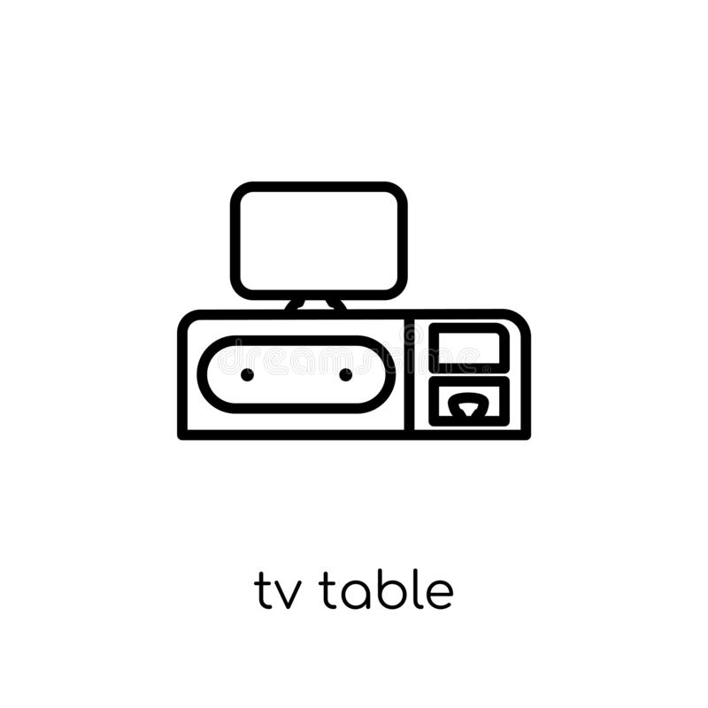 Icona della tavola della TV dalla raccolta della famiglia e della mobilia royalty illustrazione gratis