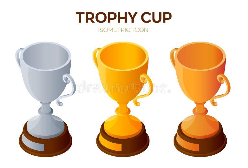 Icona della tazza del trofeo Oro, argento ed icona isometrica bronzea delle tazze 3D del premio, del vincitore o di campione Crea illustrazione vettoriale