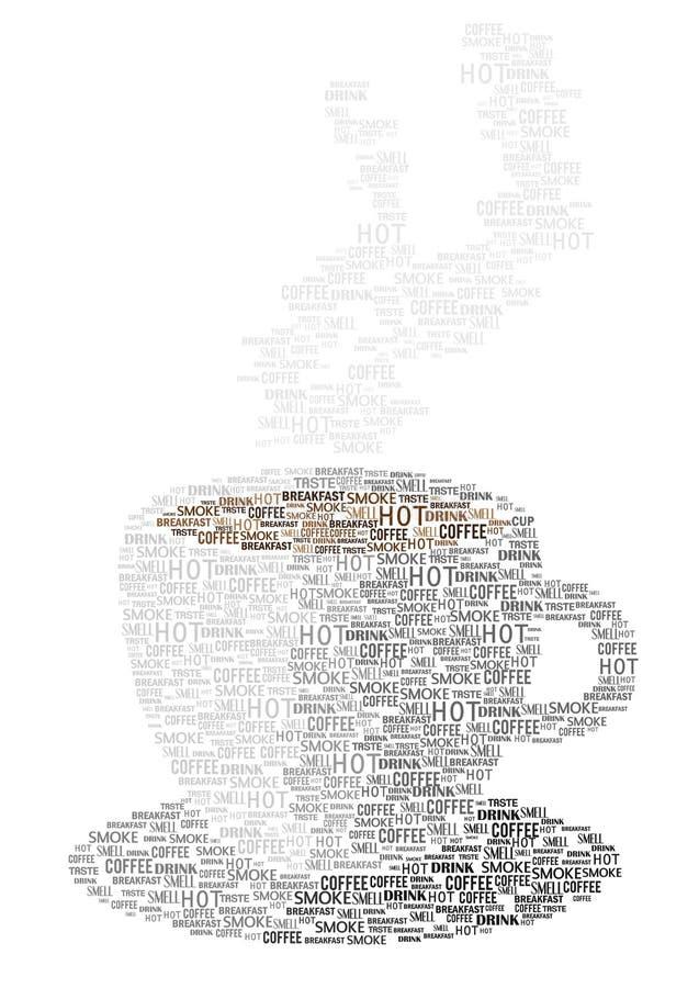 Icona della tazza di caffè fatta delle parole illustrazione di stock