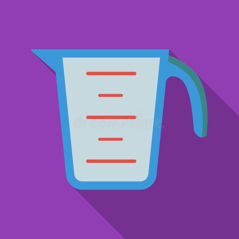 Icona della tazza di misurazione nello stile piano isolata su fondo bianco Illustrazione di vettore delle azione di simbolo della royalty illustrazione gratis