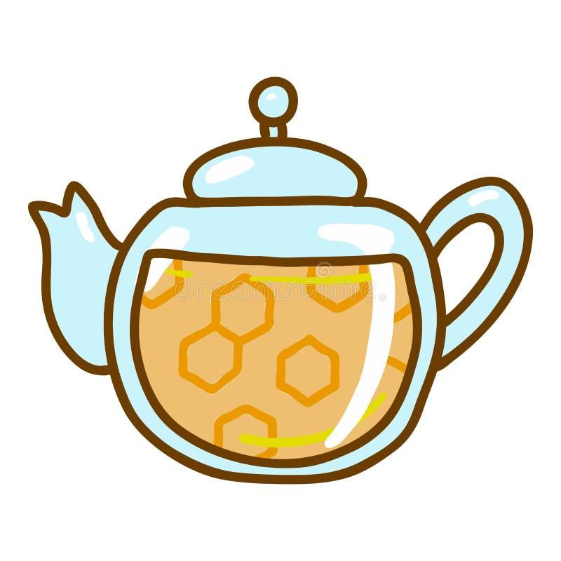 Icona della teiera del miele, stile disegnato a mano illustrazione vettoriale