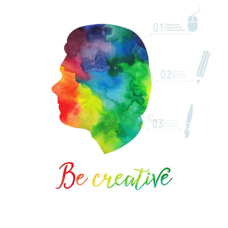 Icona della testa umana dell'acquerello di vettore Concetto creativo dell'acquerello Concetto di vettore - persona creativa iscri illustrazione di stock