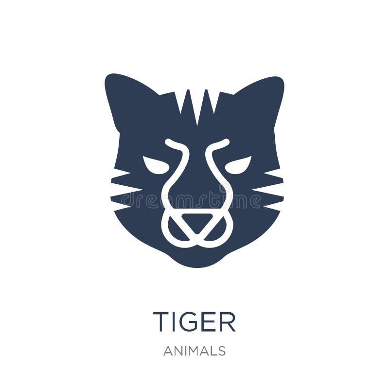Icona della tigre Icona piana d'avanguardia della tigre di vettore su fondo bianco franco royalty illustrazione gratis