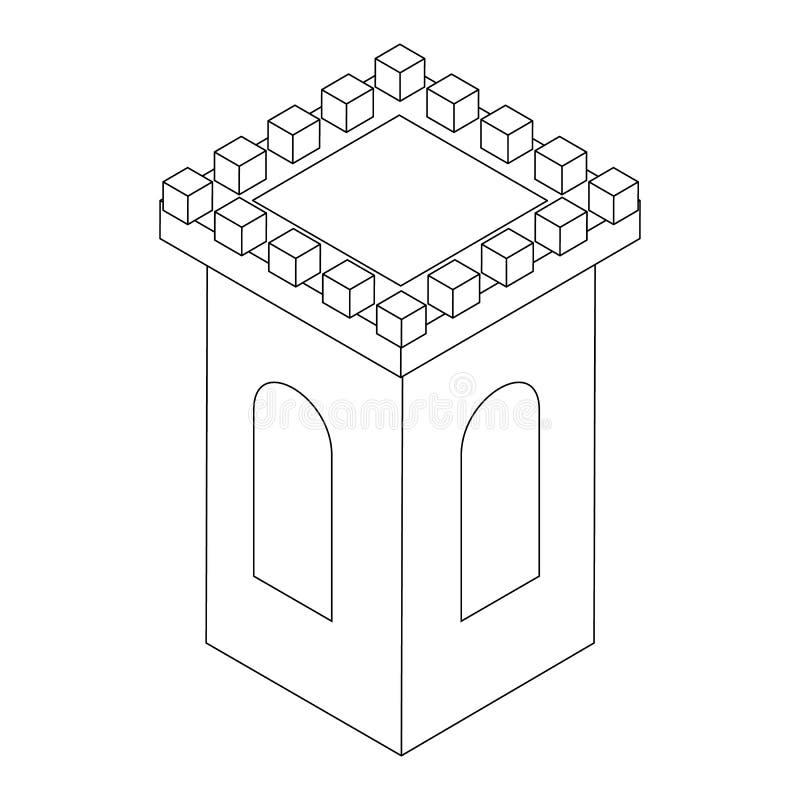 Icona della torre del castello, 3d isometrico illustrazione di stock