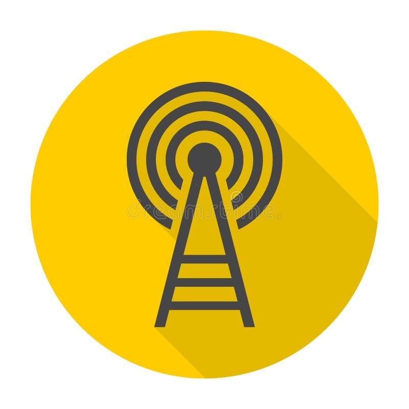 Icona della torre del trasmettitore con ombra lunga royalty illustrazione gratis
