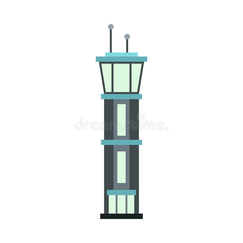 Icona della torre dell'aeroporto, stile piano illustrazione vettoriale