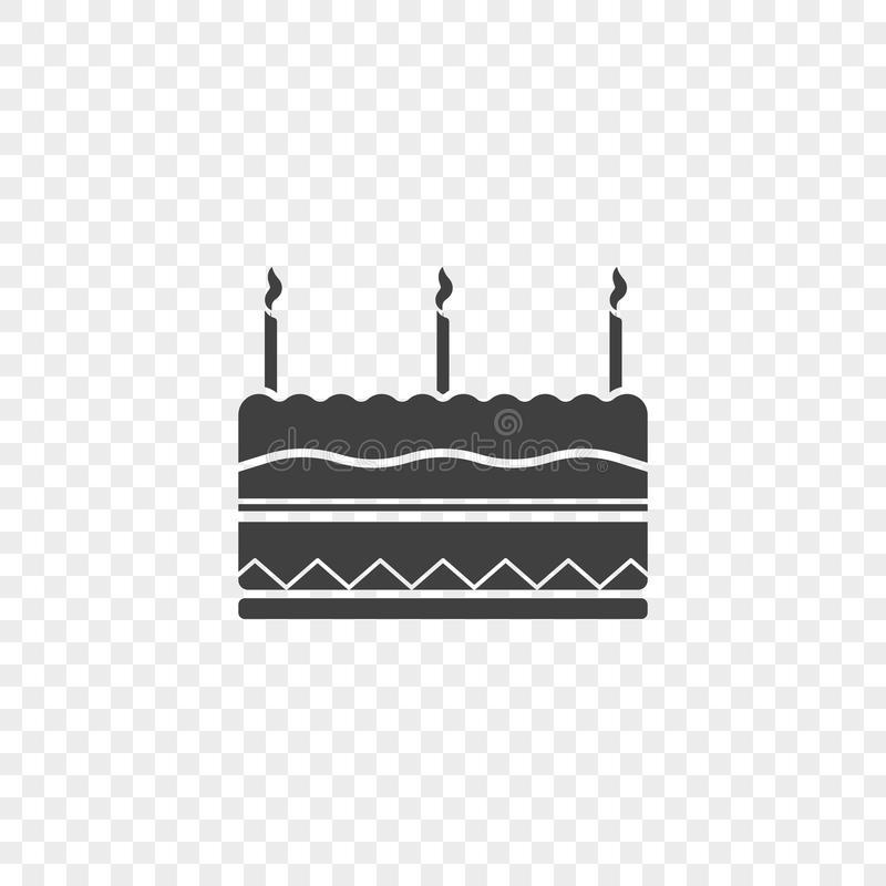 Icona della torta di compleanno con tre candele alla cima Illustrazione di vettore su un fondo trasparente illustrazione vettoriale