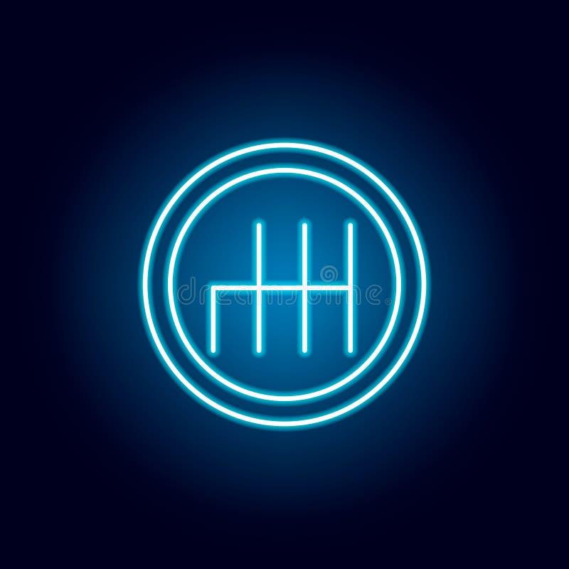 Icona della trasmissione manuale nello stile al neon blu Elemento di corsa per il concetto e l'icona mobili dei apps di web Linea illustrazione vettoriale