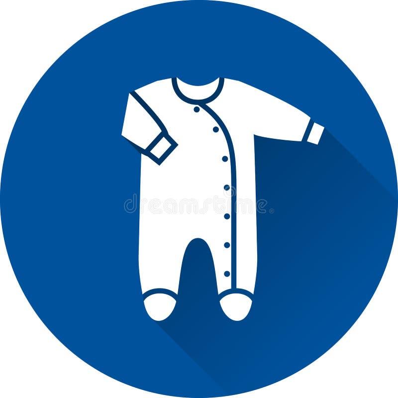 Icona della tuta Traversina footed del bambino su fondo blu Vettore IL illustrazione di stock