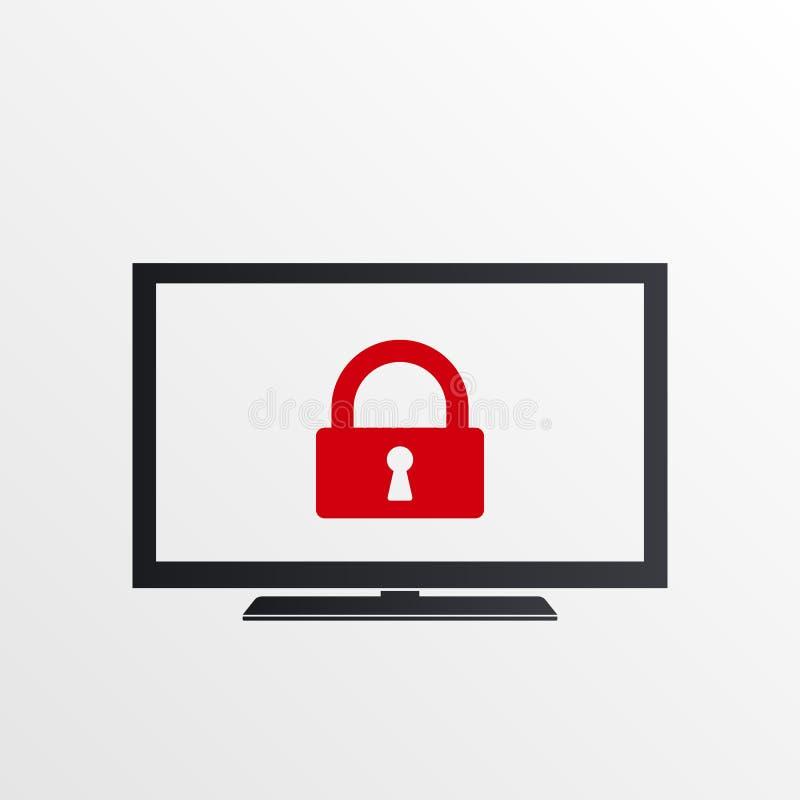 Icona della TV con il segno del lucchetto Icona della TV e sicurezza, protezione, simbolo di segretezza royalty illustrazione gratis
