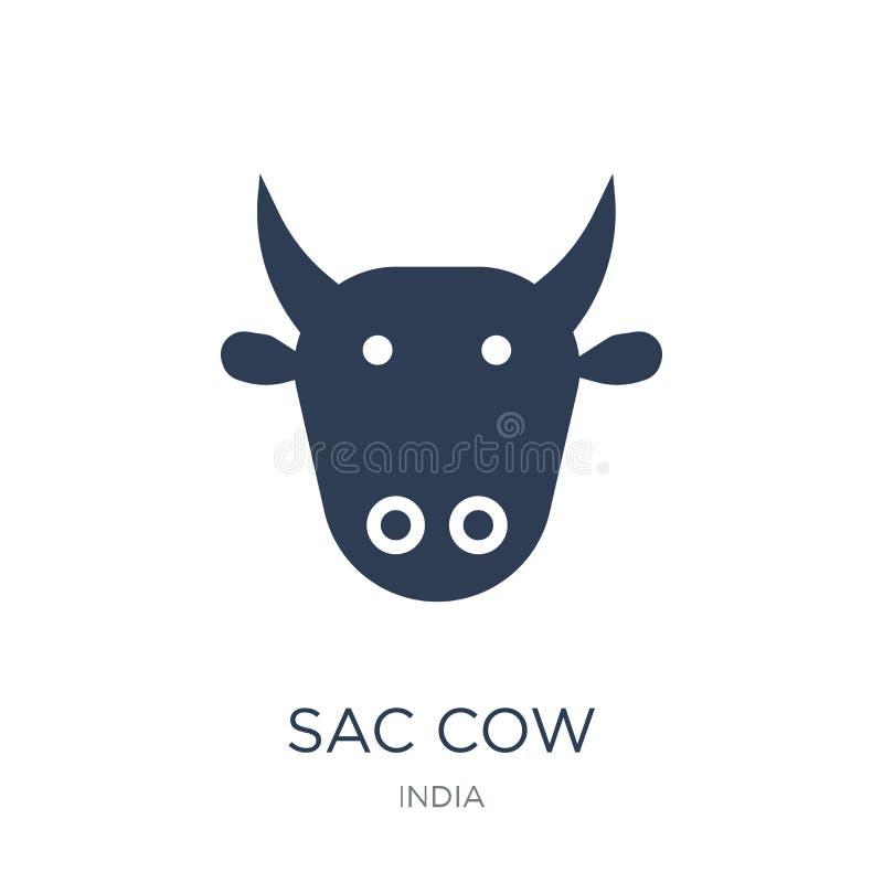 Icona della vacca sacra Icona piana d'avanguardia della vacca sacra di vettore sul BAC bianco illustrazione di stock