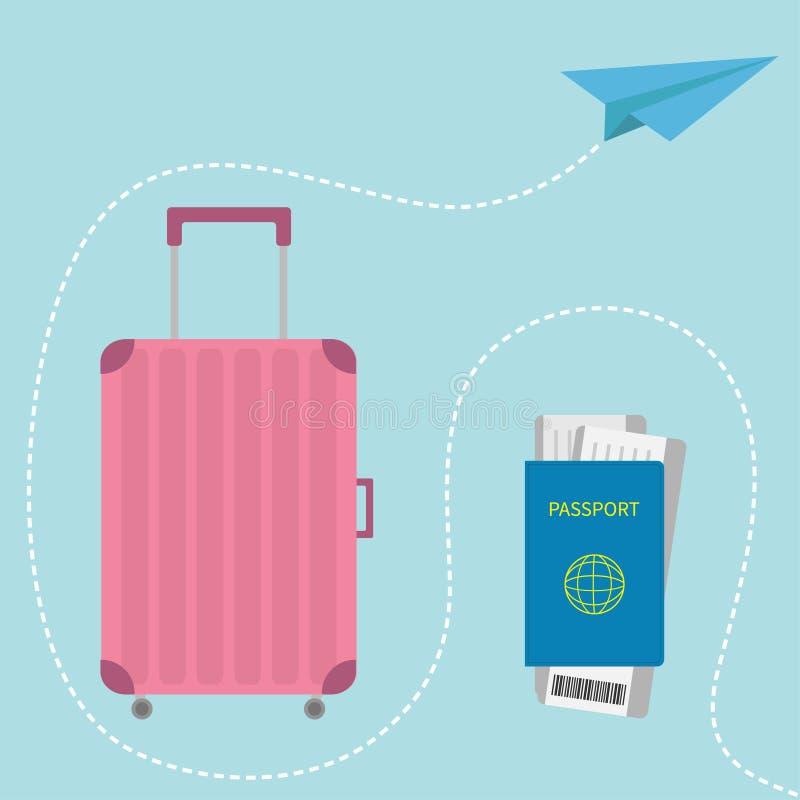 Icona della valigia Passaporto, biglietto del passaggio di imbarco dell'aria con il codice a barre Bagaglio di viaggio Borsa dei  illustrazione vettoriale