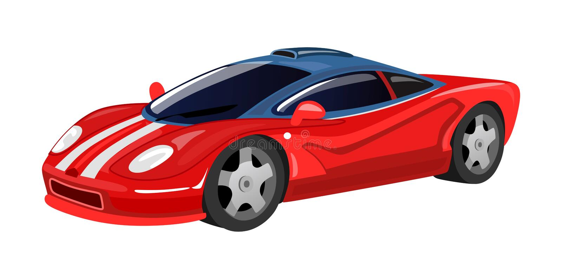 Icona della vettura da corsa isolata su fondo bianco per la stampa, carte, manifesti nello stile del fumetto Vettore rosso che co royalty illustrazione gratis
