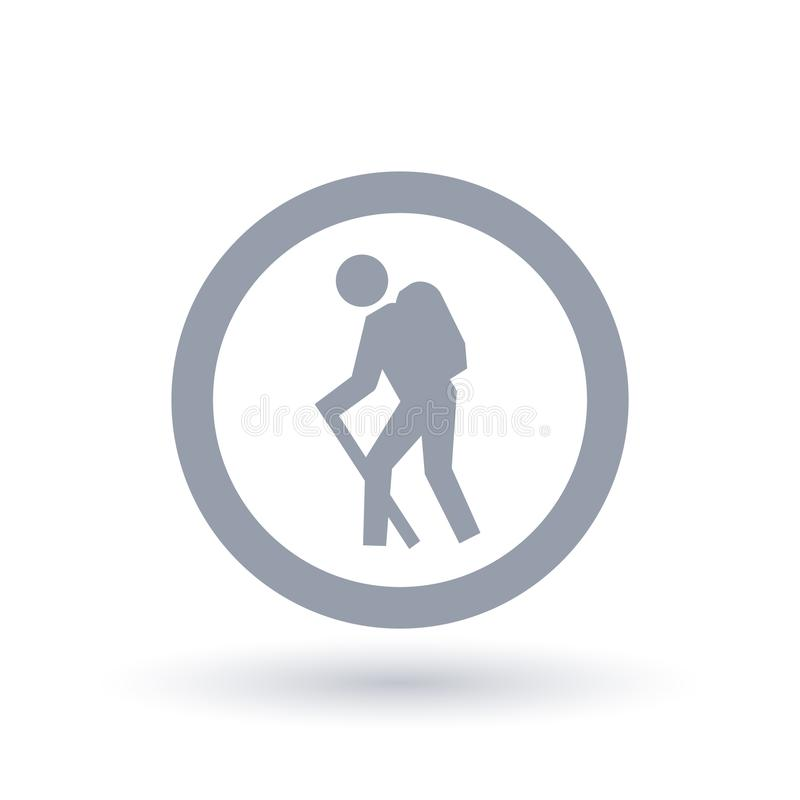 Icona della viandante Zaino che fa un'escursione simbolo Segno della traccia di aumento illustrazione di stock