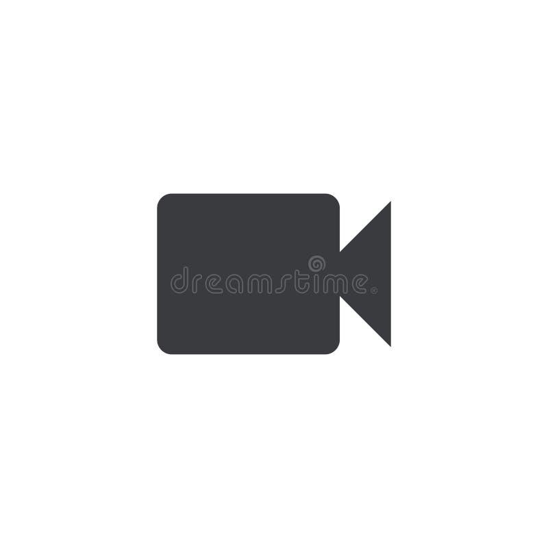 Icona della videocamera Cinepresa di forma di vettore Segno della videocamera portatile Bottone dell'interfaccia Elemento per il  illustrazione di stock