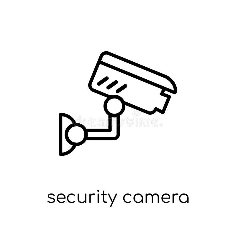 Icona della videocamera di sicurezza Sicurezza lineare piana moderna d'avanguardia di vettore royalty illustrazione gratis