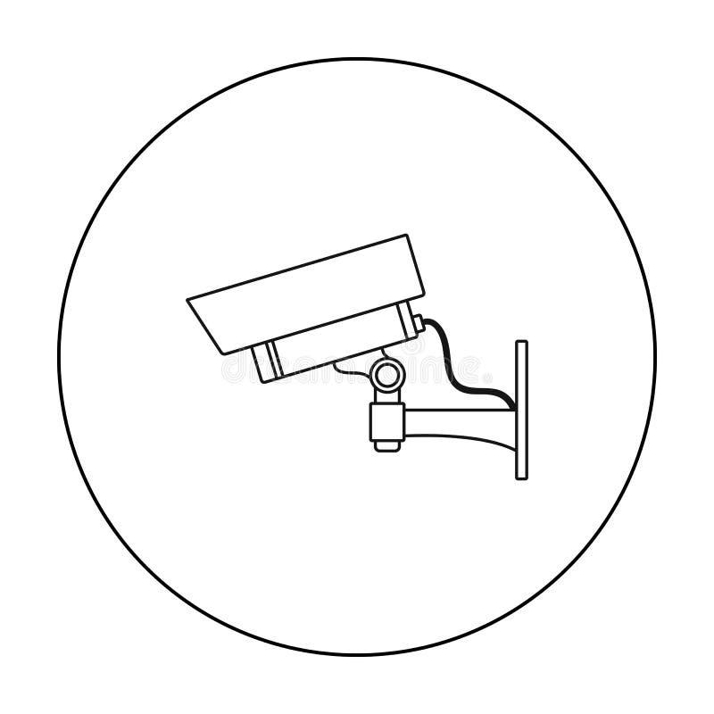 Icona della videocamera di sicurezza nello stile del profilo isolata su fondo bianco Illustrazione di vettore delle azione di sim royalty illustrazione gratis