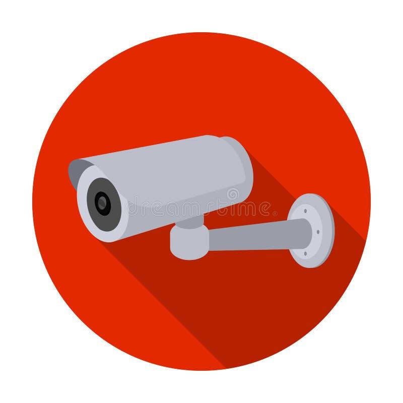 Icona della videocamera di sicurezza nello stile piano isolata su fondo bianco Illustrazione di vettore delle azione di simbolo d illustrazione di stock