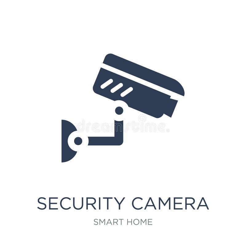 Icona della videocamera di sicurezza Icona piana d'avanguardia della videocamera di sicurezza di vettore sopra illustrazione di stock