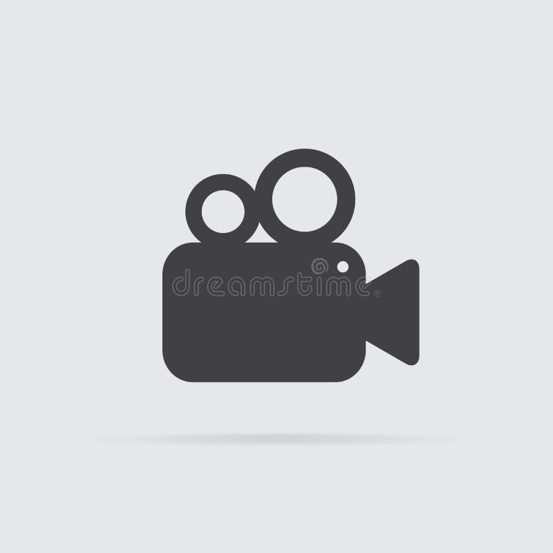 Icona della videocamera nello stile piano isolata su fondo grigio illustrazione di stock