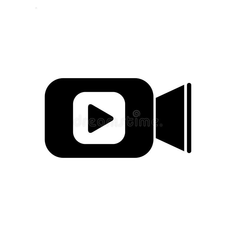 Icona della videocamera nello stile piano L'illustrazione di vettore del gioco di film su bianco ha isolato il fondo Video affare illustrazione vettoriale