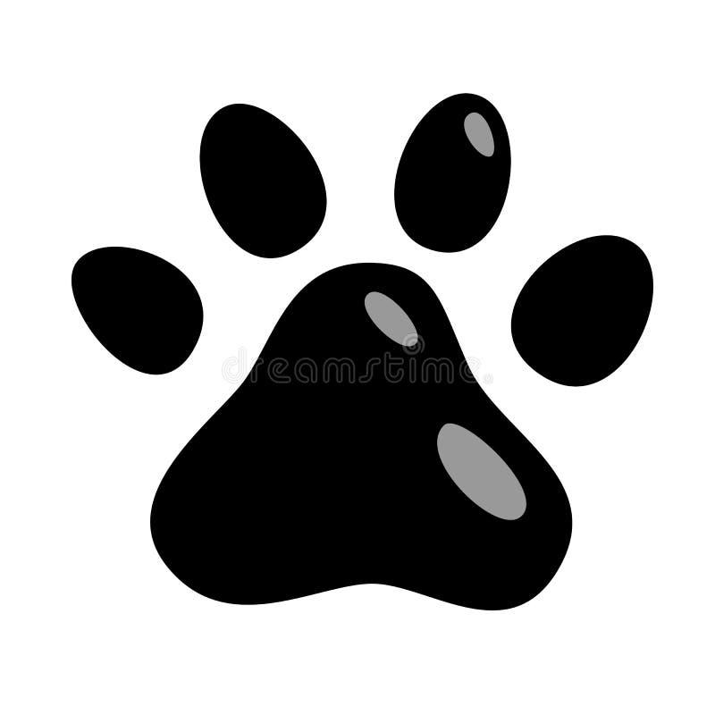 Icona della zampa dei gatti i cuccioli del gatto degli animali segnano l'illustrazione nera isolata vettore delle stampe del pied illustrazione di stock