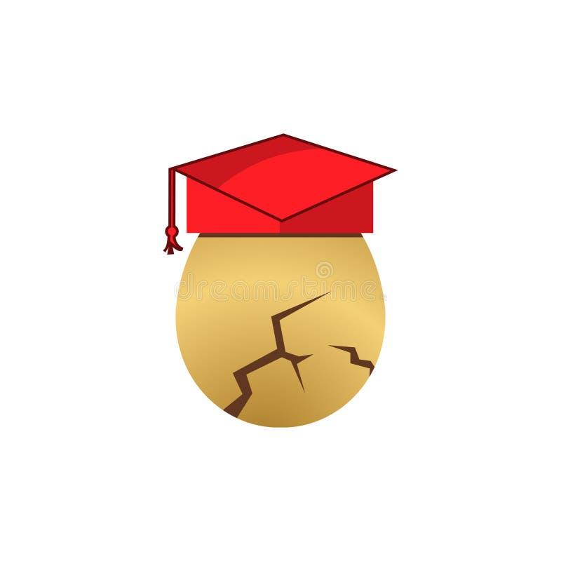 Icona delle azione del cappello di graduazione di usura dell'uovo Illustrazione di vettore su priorit? bassa bianca illustrazione vettoriale