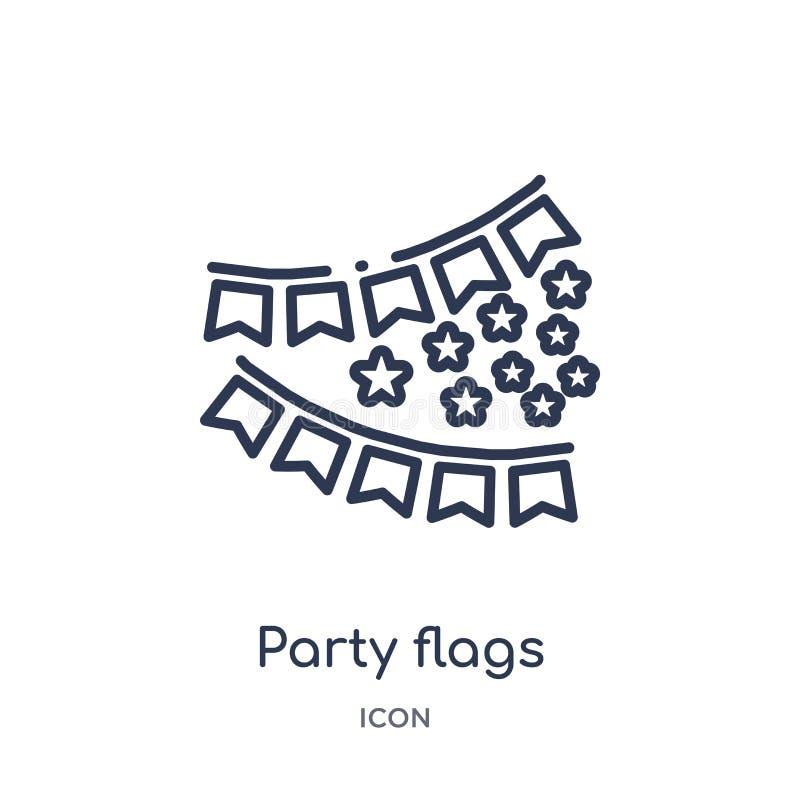 Icona delle bandiere del partito dalla raccolta del profilo del partito Linea sottile icona delle bandiere del partito isolata su illustrazione vettoriale