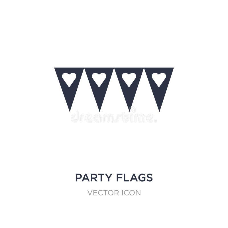 icona delle bandiere del partito su fondo bianco Illustrazione semplice dell'elemento dal concetto del partito illustrazione di stock