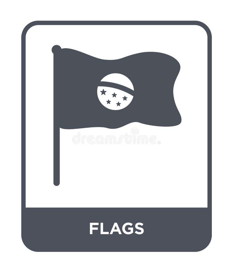 icona delle bandiere nello stile d'avanguardia di progettazione Inbandiera l'icona isolata su fondo bianco simbolo piano semplice illustrazione di stock