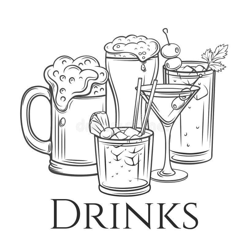 Icona delle bevande alcoliche, retro illustrazione vettoriale