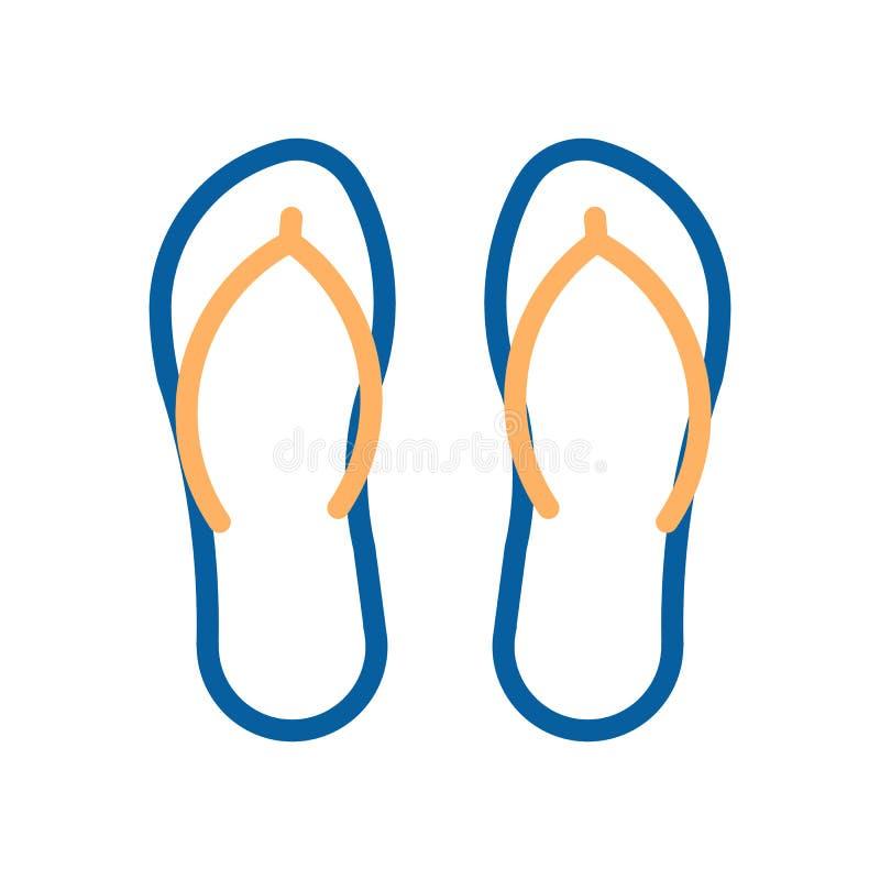 Icona delle calzature della spiaggia di Flip-flop Illustrazione al tratto sottile di vettore illustrazione vettoriale