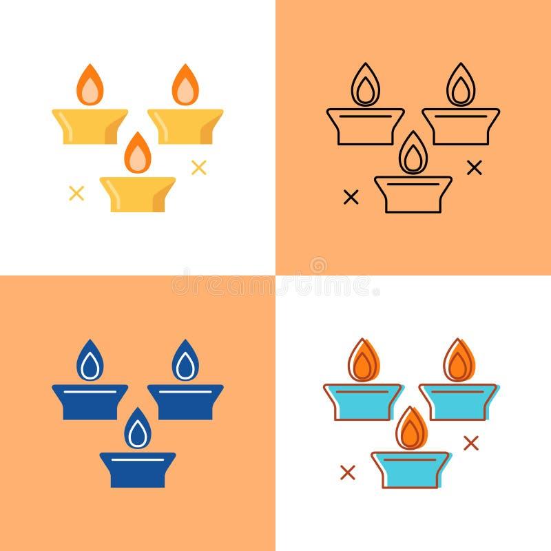 Icona delle candele di festa messa in piano e nella linea stile royalty illustrazione gratis