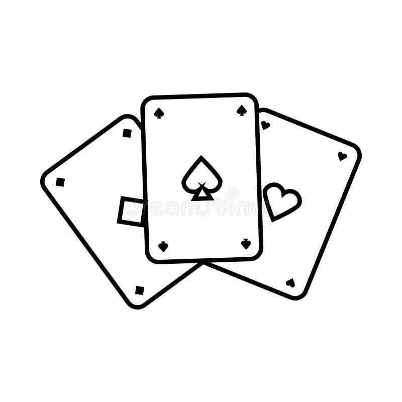 Icona delle carte da gioco, stile del profilo illustrazione vettoriale