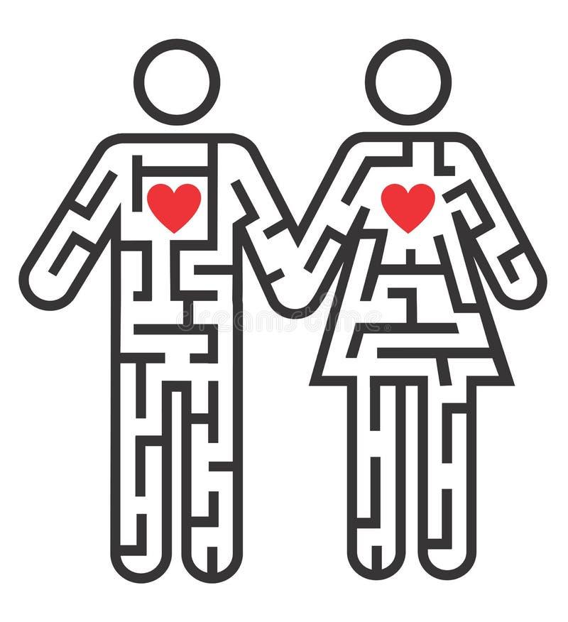 Icona delle coppie come labirinto di amore illustrazione vettoriale