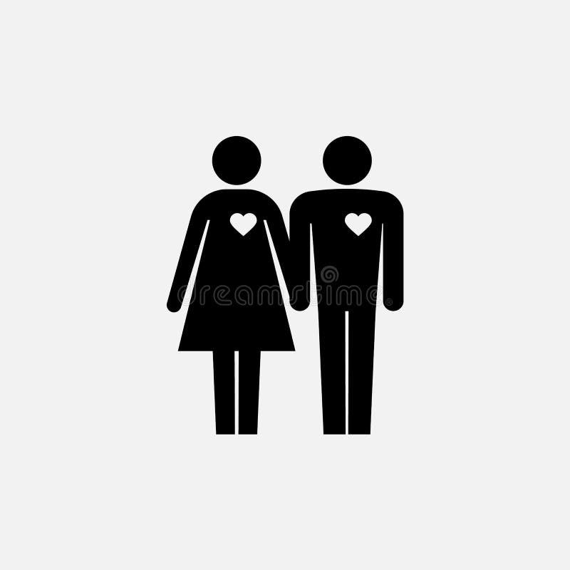 Icona delle coppie Icona della famiglia Logo della moglie e del marito Illustrazione di vettore illustrazione di stock