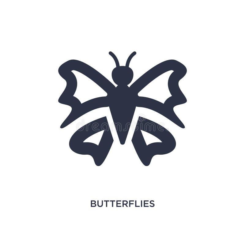 icona delle farfalle su fondo bianco Illustrazione semplice dell'elemento dal concetto di giardinaggio royalty illustrazione gratis