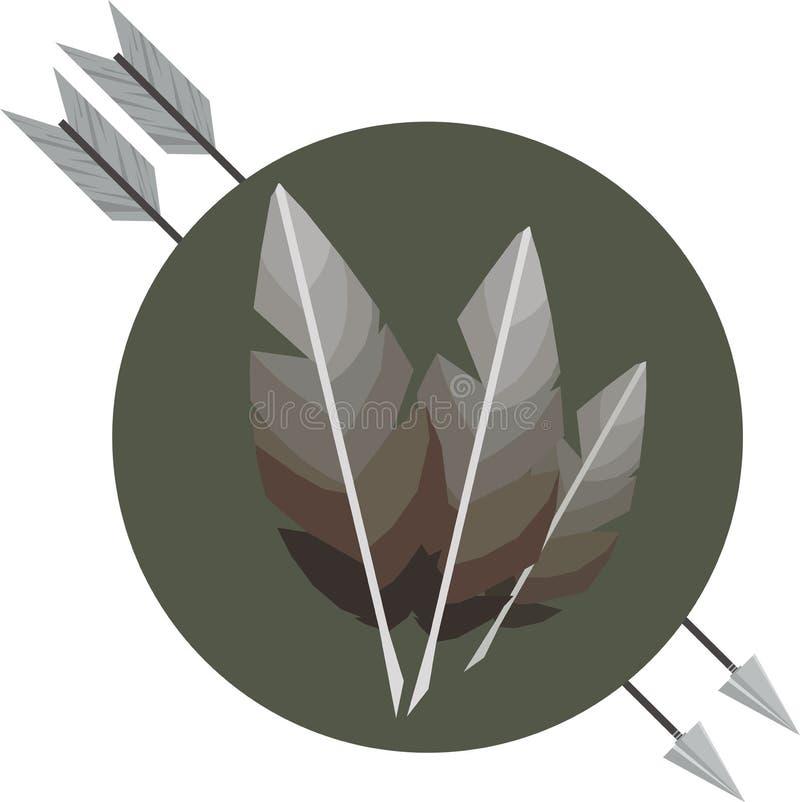 Icona delle frecce dell'arco Icona di sport di caccia Illustrazione di vettore immagine stock