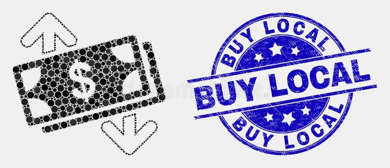 Icona delle frecce di scambio delle banconote di Pixelated di vettore e bollo locale graffiato dell'affare royalty illustrazione gratis