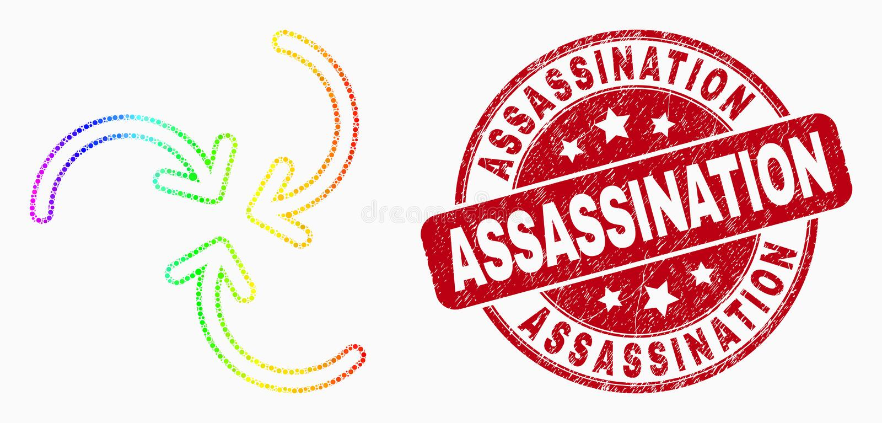 Icona delle frecce di turbinio di Pixelated di vettore e filigrana di assassinio di lerciume colorate arcobaleno illustrazione di stock