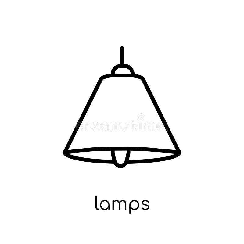 Icona delle lampade dalla raccolta della famiglia e della mobilia illustrazione vettoriale